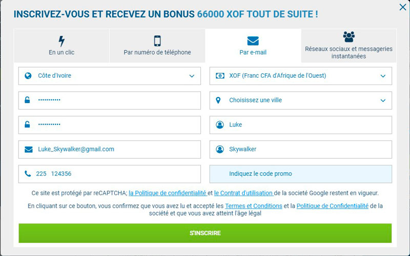 1xBet l'inscription cote divuar